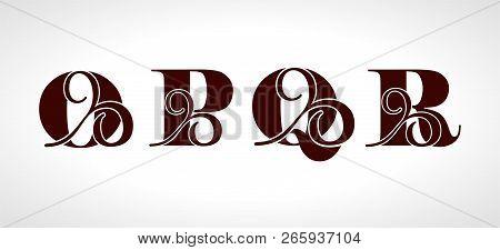 Decorative Capital Letters O, P, Q, R For Your Monogram, Logo, Emblem. Beautiful Alphabet With Flora