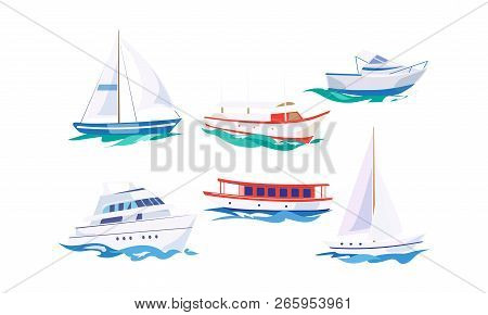 Water Transport Set, Yacht, Motorboat, Steamship, Fishing Boat, Cruise Ship Vector Illustration On A