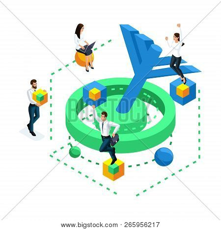Isometric Icon Achieving The Goal, Concept Of Solving The Problem In The Brain, Mini People Are Jump