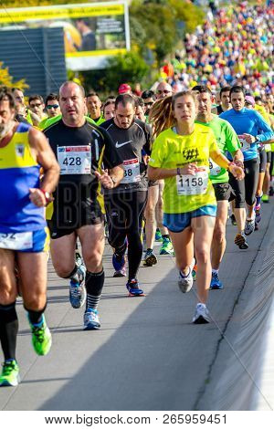 San Fernando, Spain - Mar 23: Unidentified Runners On The Street During Xxviii Half Marathon Bahia D