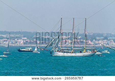 Cadiz, Spain - Jul 29: Polish Ship, Kapitan Borchardt Setting Sail On The Tall Ship Races 2012 On Ju