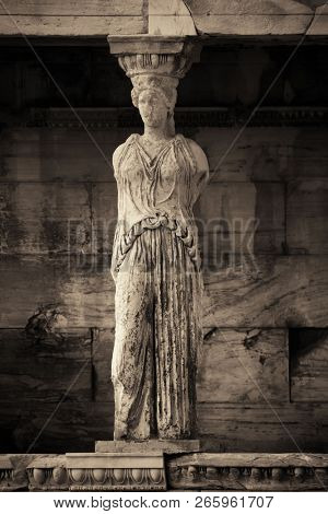 The Porch of the Caryatids of Erechtheion Temple in Acropolis in Athens, Greece. poster