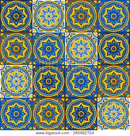 Moroccan Ceramic Tile Seamless Pattern. Ethnic Floral Motifs. Mediterranean Traditional Folk Ornamen