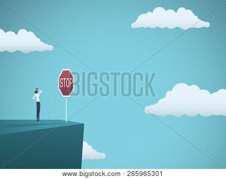 Business Dangers For Woman Vector Concept. Businesswoman Standing On The Edge Of Cliff With Warning