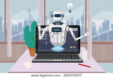 Free Chat Bot, Robot Virtual Assistance On Laptop Say Hello Element Of Website Or Mobile Application