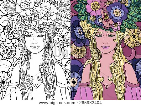 Illustration Of Fairy With Long Hair In Elegant Dress Surrounded By Primula Flowers. Vector Fantasy