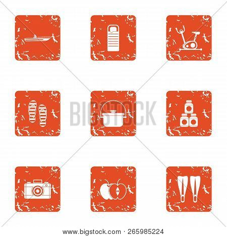 Tour Preparation Icons Set. Grunge Set Of 9 Tour Preparation Icons For Web Isolated On White Backgro