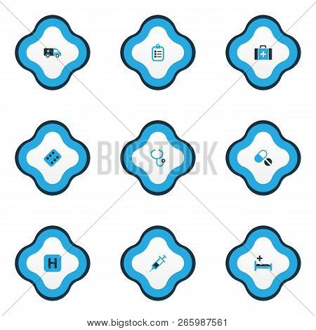 Drug Icons Colored Set With Syringe, Pellets, Hospital And Other Clipboard Elements. Isolated Vector