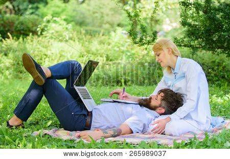 Business Partner Concept. Balance Freelance And Family Life. Man And Girl Work Laptop. Build Busines