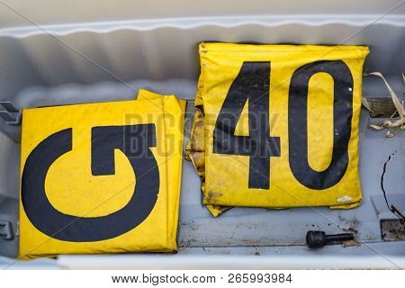There Are Two Unneeded Yardline Markers Languishing At The Bottom Of The Crate