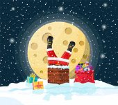 Santa claus with bag with gifts stuck in house chimney, gift boxes in snow. Happy new year decoration. Merry christmas eve holiday. New year and xmas celebration. Vector illustration in flat style poster