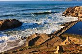 Sutro Baths near San Francisco Bay, California poster