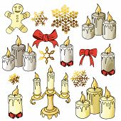 Candles colored variants with elements cookieman showflakes poster