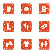 Sale era icons set. Grunge set of 9 sale era vector icons for web isolated on white background poster