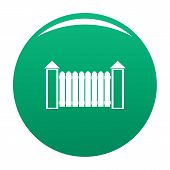 Fence with turret icon. Simple illustration of fence with turret vector icon for any design green poster