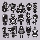 Robots and monsters collection. Vector illustration of strange creatures. poster