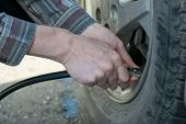 human hands insert the hose of the car pump to pump air into the wheel of the car poster
