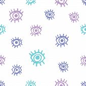 Cute eyes seamless pattern. Hand drawn doodle eyes with lashes on white background. Funky kitsch pattern for your design. poster