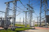 Power electrical substation with high voltage equipments. Electric high voltage station. Power lines and transformer. Industrial distribution of electricity poster