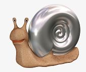 Smiling 3d snail with a bowl from chromeplated metal. Objects over white poster