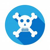 Crossbones, death skull, danger or poison flat icon with long shadow. Element of kind or way of Suicide death illustration. Signs and symbols icon for websites, web design, mobile poster