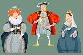History of England. British historical figures drinking tea. Queen Elizabeth I, King Henry VIII, Queen Victoria. Vector illustration. poster