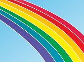 Graphic illustration of a large rainbow against a blue gradient background. poster