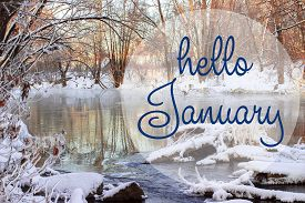Hello January Greeting Card. Winter Holidays Concept