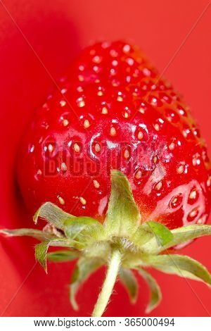 Strawberry Background. Strawberry Berries Texture. Top View On Red Berries. Red Berries Close Up. Ve