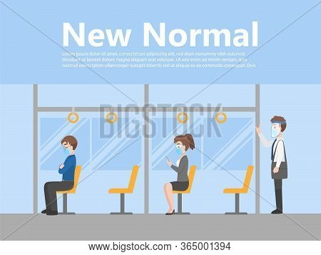 New Normal Life People In Business Casual Outfits Social Distancing Wearing A Surgical Protective Me