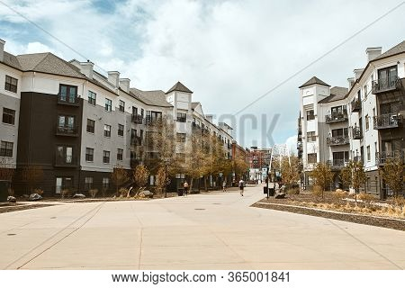 Denver, Colorado - May 1st, 2020:  Path Connecting Lower Highlands (lohi) Neighborhood And Commons P