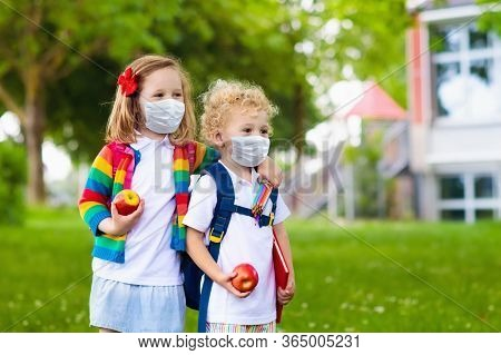 Kids On First School Day In Face Mask