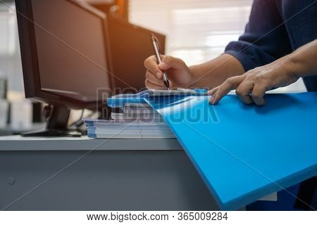 Auditor Businessman Checking Signing Document Legal Prepare Paperwork Or Report For Analysis Informa