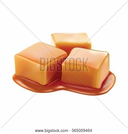 Caramel Candies Glazed With Toffee Sauce. Vector Design Isolated On White Background. 3d Realistic C