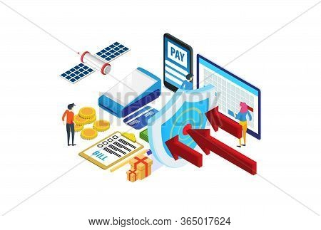 Modern Isometric Privacy Protection Banking Transactions Iillustration, Web Banners, Suitable For Di