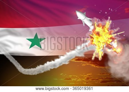 Strategic Rocket Destroyed In Air, Syrian Arab Republic Nuclear Missile Protection Concept - Missile