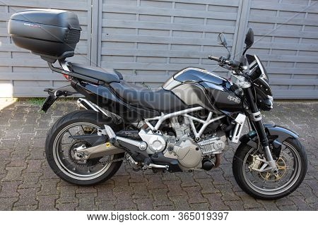 Bordeaux , Aquitaine / France - 11 18 2019 : Aprilia Mana 850 First Real Automatic Motorcycle Side V