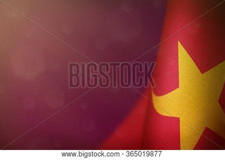Vietnam Hanging Flag For Honour Of Veterans Day Or Memorial Day On Pink Dark Velvet Background. Viet