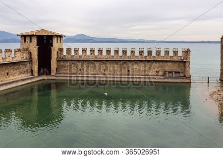 Sirmione, Italy - October 01, 2015 : View From The Castello Scaligero Fortress Wall To The Suspensio