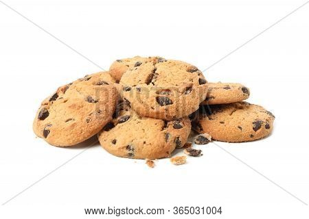 Tasty Chocolate Chip Cookies Isolated On White Background