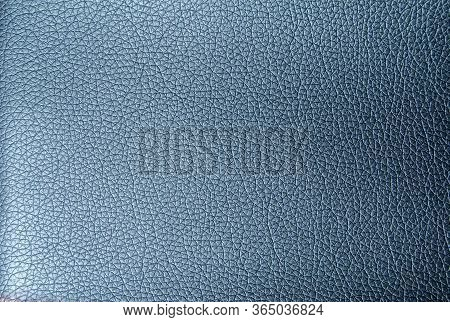 Faux Leather Texture In Metallic Blue. Artificial Leather Close-up