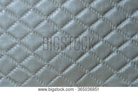 White Faux Leather. Faux Leather Texture With A Diamond Pattern.