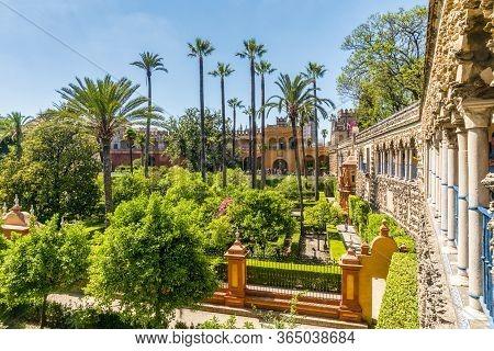 Moorish Architecture Of Beautiful Castle Called Real Alcazar In Seville, Spain