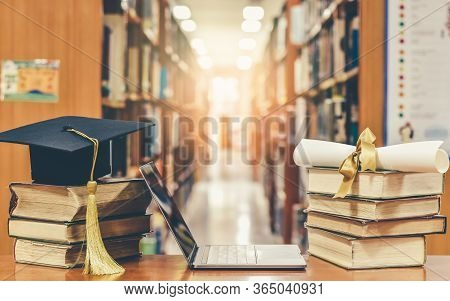 Online Education Course, E-learning Class And E-book Digital Technology Concept With Pc Computer Not
