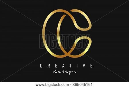 Bold Golden Monogram C Letter Logo With Simple Design. Creative Golden C Sign. Luxury C Vector Illus