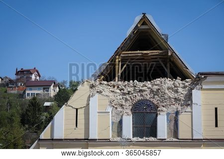 Zagreb, Croatia - 12 April, 2020 : Church Of The Visitation Of The Blessed Virgin Mary Destroyed Aft