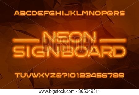 Neon Alphabet Font. Orange Neon Color Letters And Numbers. Abstract Background. Stock Vector Typescr