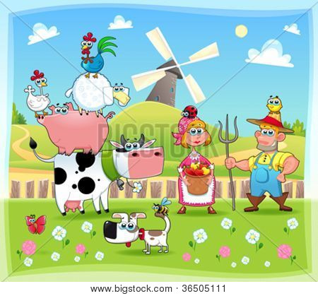 Funny farm family. Cartoon and vector illustration. Eps file contains isolated objects and characters.