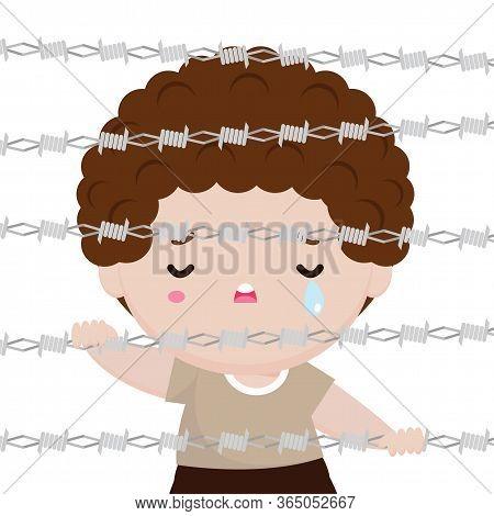 World Refugee Day, Little Boy Behind Barbed Wire Cartoon Character Design Flat,  Civil War, Refugees
