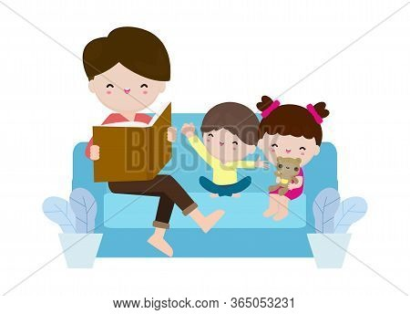 Father Reading Fairy Tales To His Son And Daughter, Family, Reading And Telling Book Fairy Tale Stor